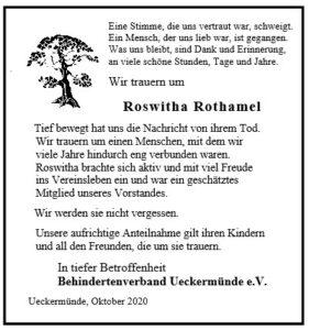 Nachruf von Roswitha Rothamel